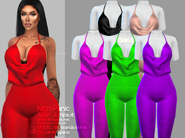 Satin Jumpsuit for The Sims 4