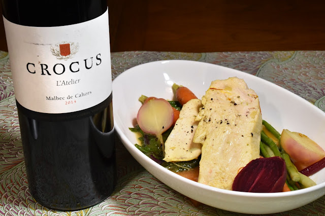Crocus l'Atelier Malbec de Cahors with Château de Mercuès Chicken in Saffron Broth with Vegetables. Photo by Greg Hudson.