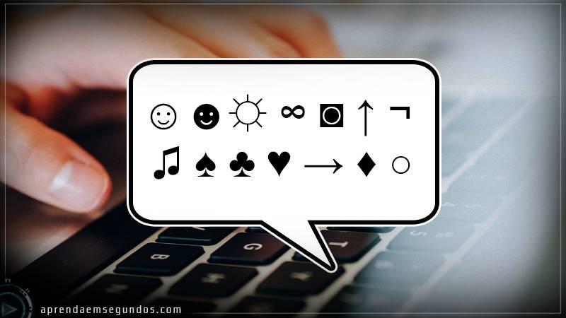 atalhos de teclado para caracteres e símbolos