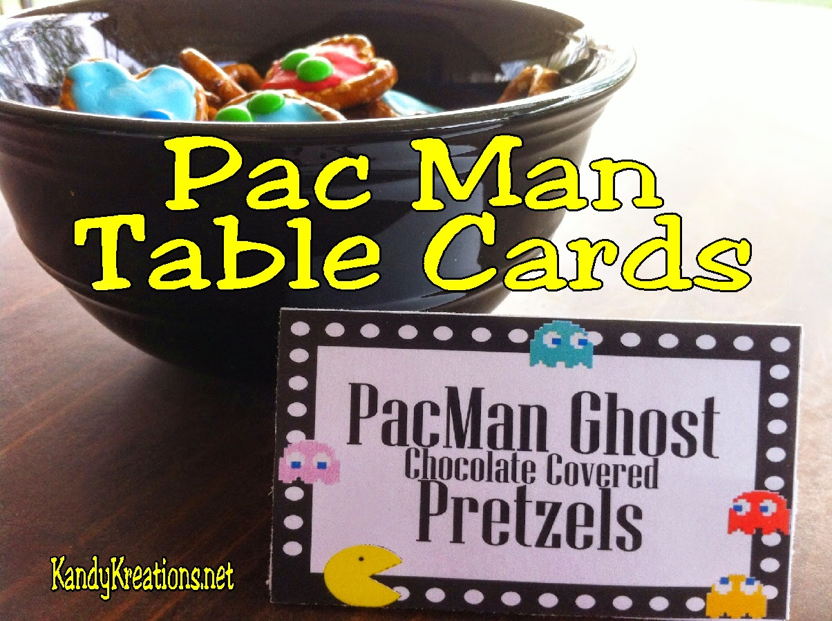 Create fun treats for your Arcade party, 80s party, or Video Game party with these Pac Man table cards.  These free party printables will help you have the best dessert table for your next party.