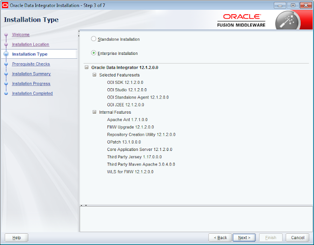 ODI 12c Installer Installation Type Selection