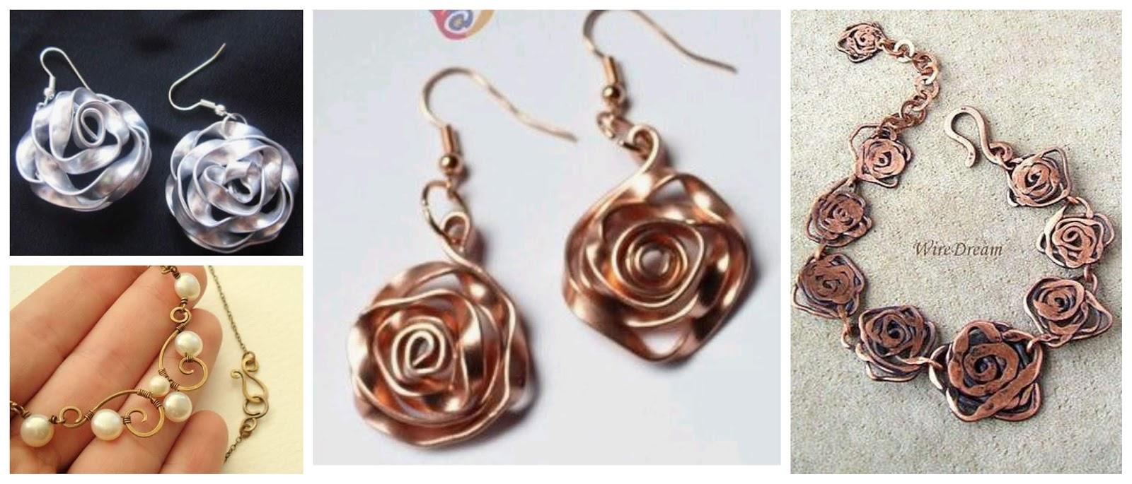 a4bd31847d2c Aprende cómo hacer rosas para aretes y collares usando alambre plano ...