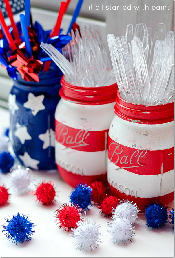 patriotic red white blue mason jars