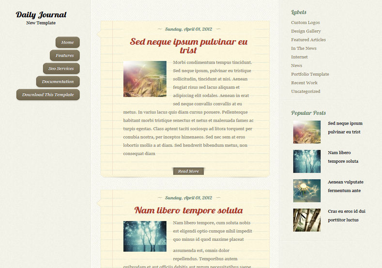 Daily Journal Blogger Template