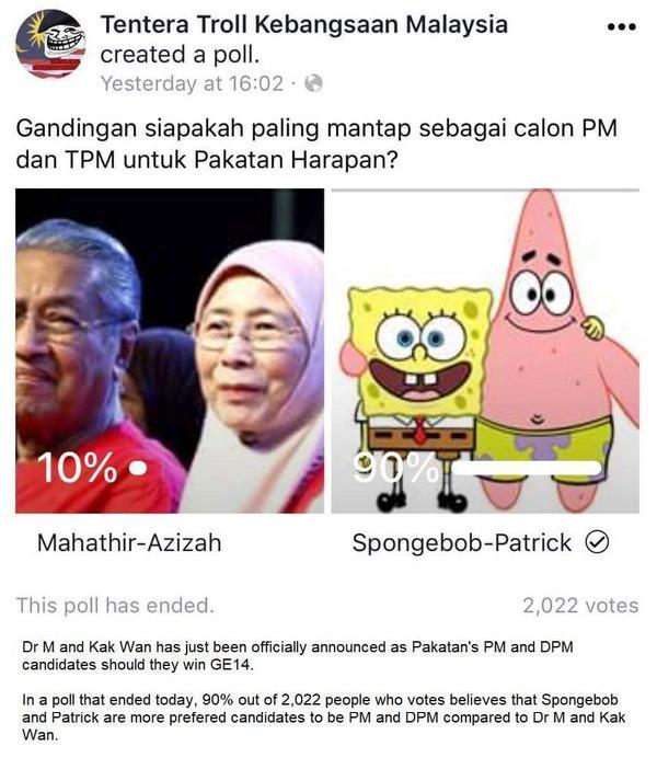 Spongebob-Patrick Calon Yang Lebih Baik Menjadi PM Dan TPM Malaysia Berbanding Dengan Mahathir - Wan Azizah.