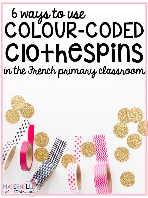 Do you love washi tape as much as I do?? Use it to easily colour code student clothespins!! There are TONS of ways to use colour-coded clothespins in the French primary classroom - this blog post talks about 6 of them