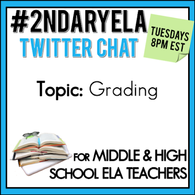 Join secondary English Language Arts teachers Tuesday evenings at 8 pm EST on Twitter. This week's chat will be about grading.
