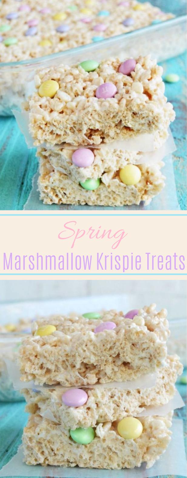 Spring Marshmallow Krispie Treats #snack #desserts