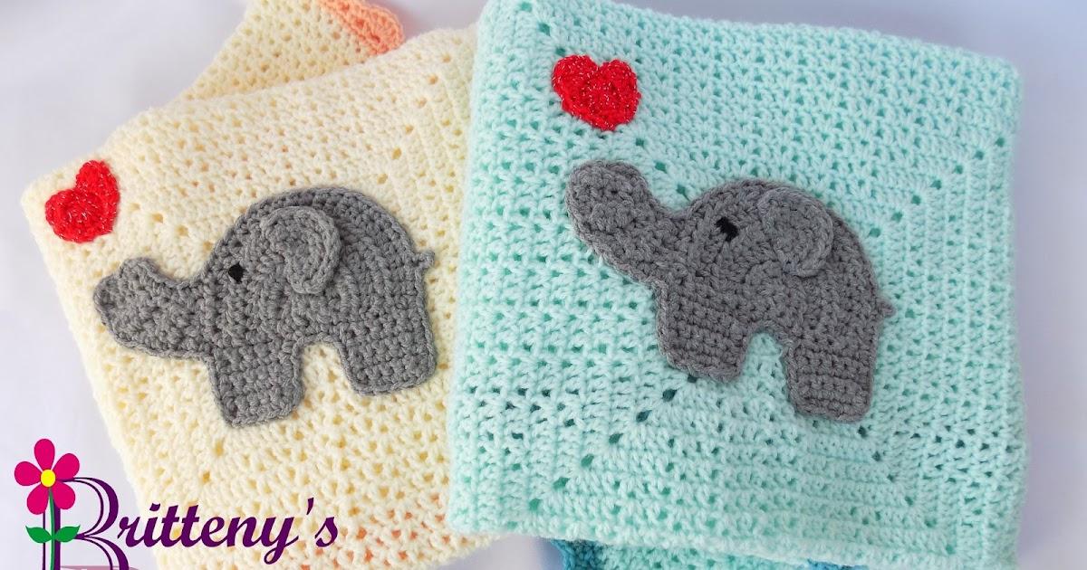 Britteny Off The Hook Elephant Love Baby Blanket Crochet Pattern