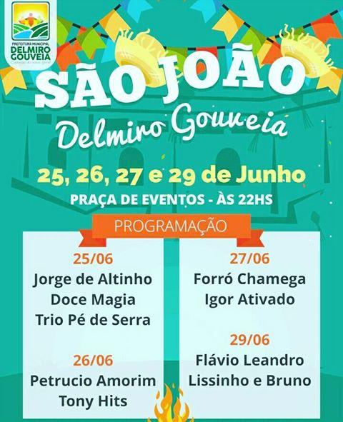 Prefeitura de Delmiro Gouveia, divulga a programação oficial do São João no município