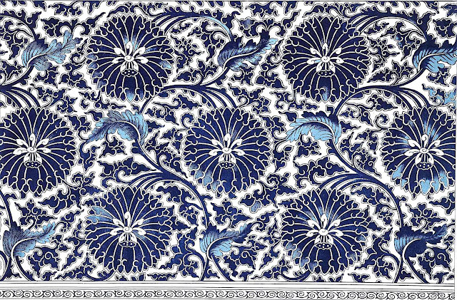Owen Jones' beautiful old rendering of Chinese ornament in blue