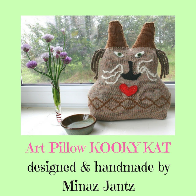 Kooky Kat folk art pillow by Minaz Jantz