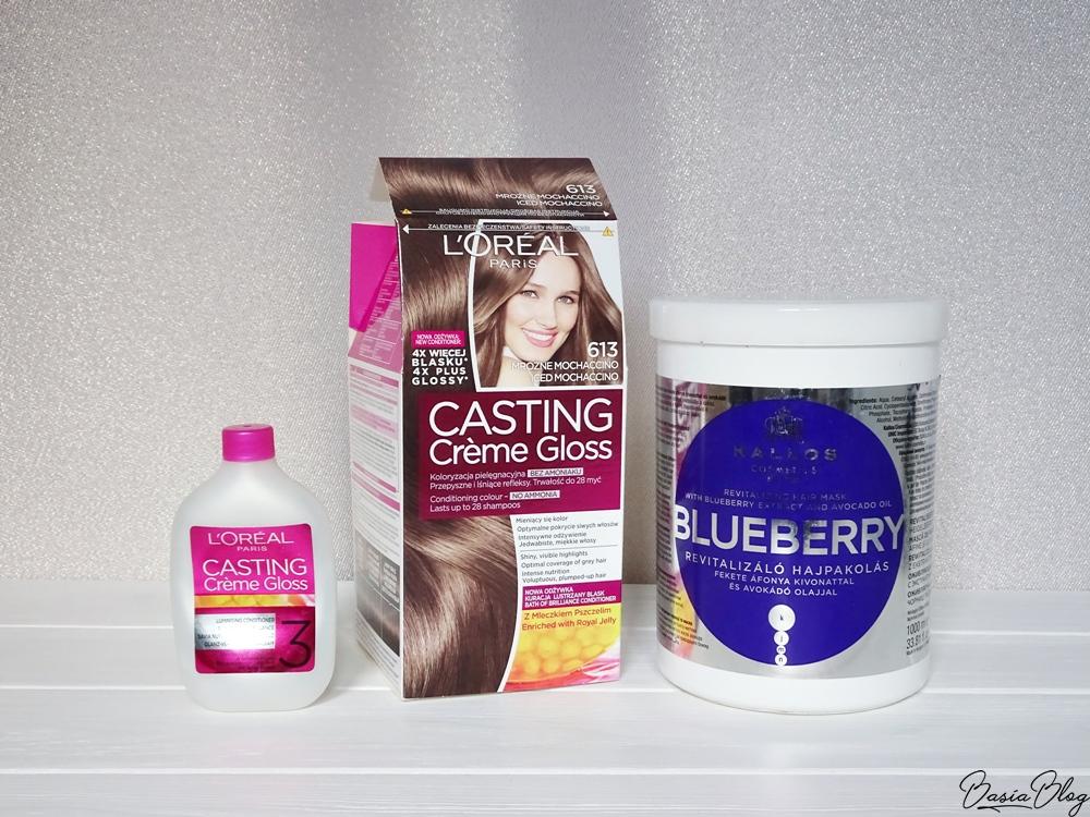 Kallos Blueberry, maska do włosów, L'Oreal Casting Creme Gloss 613 Mroźne Mochaccino, odżywka z farby Casting