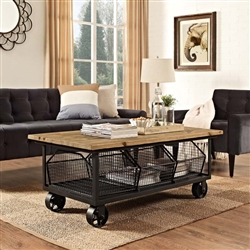 Retro Coffee Table with Wheels and Storage Bins