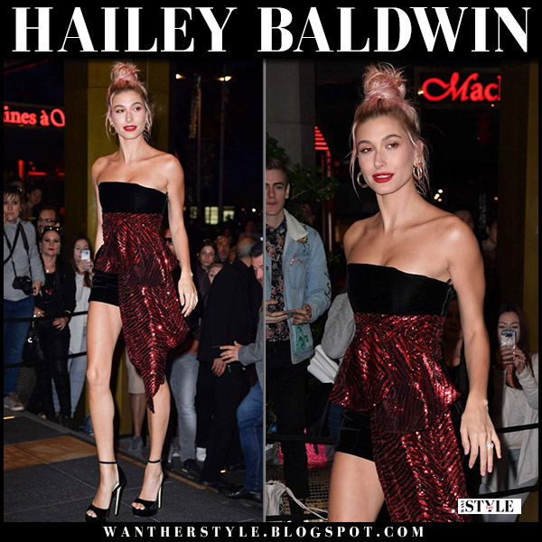 Hailey Baldwin in black and red strapless mini dress alexandre vauthier cannes fashion 2018