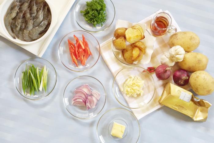 Chili-Garlic Shrimps with US POTATOES Ingredients
