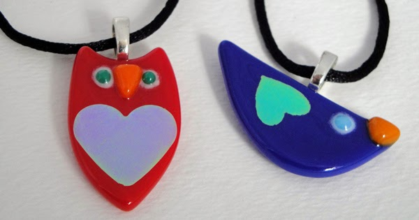 Blue Bird Red Owl Heart Valentine Love Dichroic Pendant Necklace Fused Glass