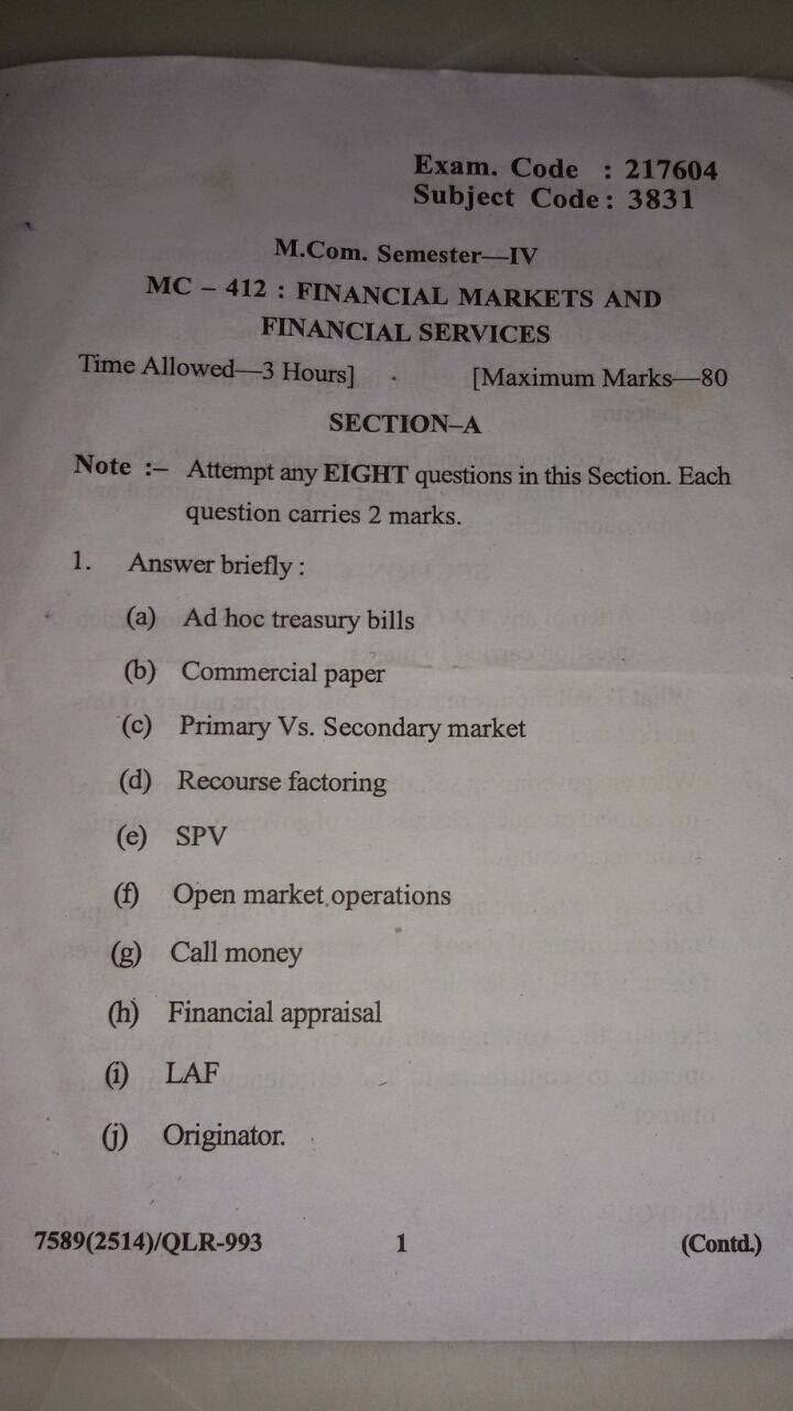 M.com 4th sem financial market and finacial services