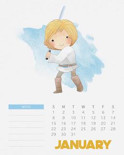 Calendario 2017 de Star Wars para Imprimir Gratis  Enero.
