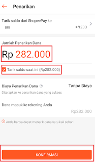 cara penarikan dana shopee pay