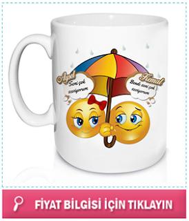 Kişiye Özel Aşık Emoji Kupa Bardak