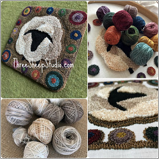 'Primitive Penny Sheep' punch needle pattern