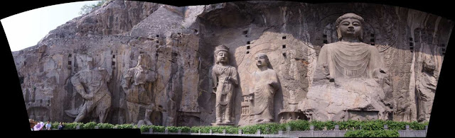 Panorama photo of Longmen Grottoes or Dragon Gate Grottoes stitch from three images