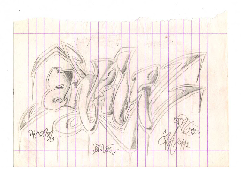 Angie Throw-Up Sketch with Pencil. Original naive, vintage graffiti sketch on copy paper by Kostas Gogas (akney), signed as Kent from his first Folder, 2001. ENA graffiti crew.