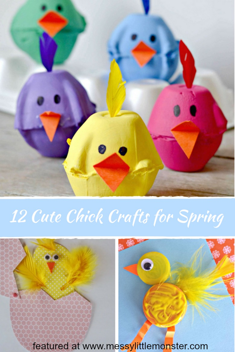 12 cute chick crafts for Spring. Easy kids craft ideas for Easter or Spring themed projects. Activities for toddlers, preschoolers and older children.