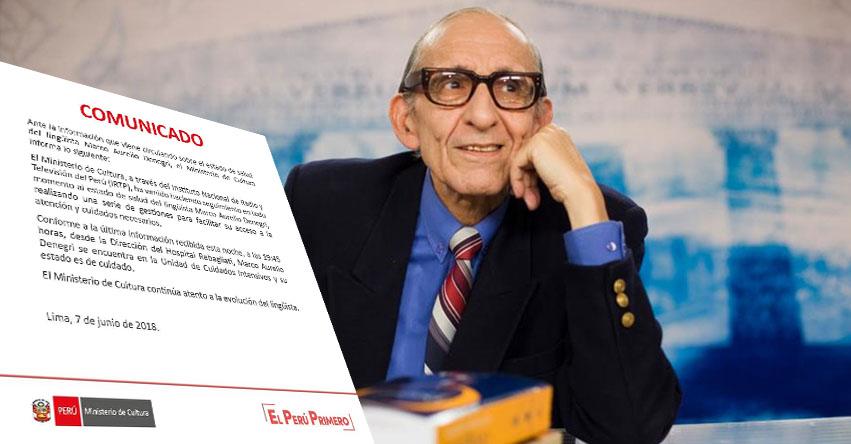 Salud de Marco Aurelio Denegri se encuentra estable, informa ministra de Cultura - www.cultura.gob.pe