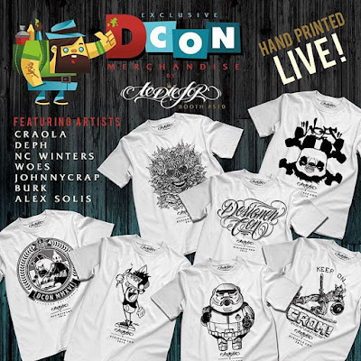 Designer Con 2016 Exclusive Artist Series Hand Screen Printed T-Shirts by To Die For Clothing – Craola, Deph, NC Winters, Woes, JohnnyCrap, Burk & Alex Solis