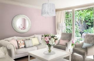 sala en rosa y gris