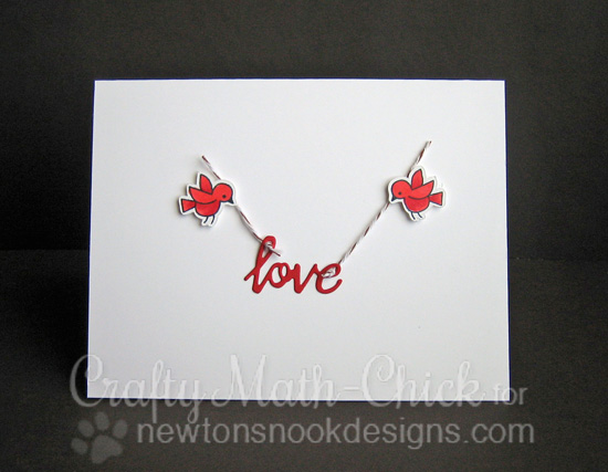 Love Bird card by Crafty Math Chick, Winged Wishes Stamp set by Newton's Nook Designs