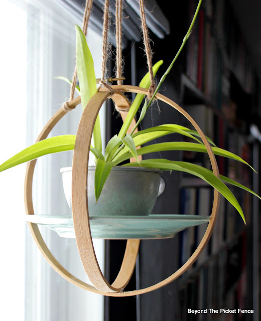 use an embroidery hoop and a saucer to make a plant hanger