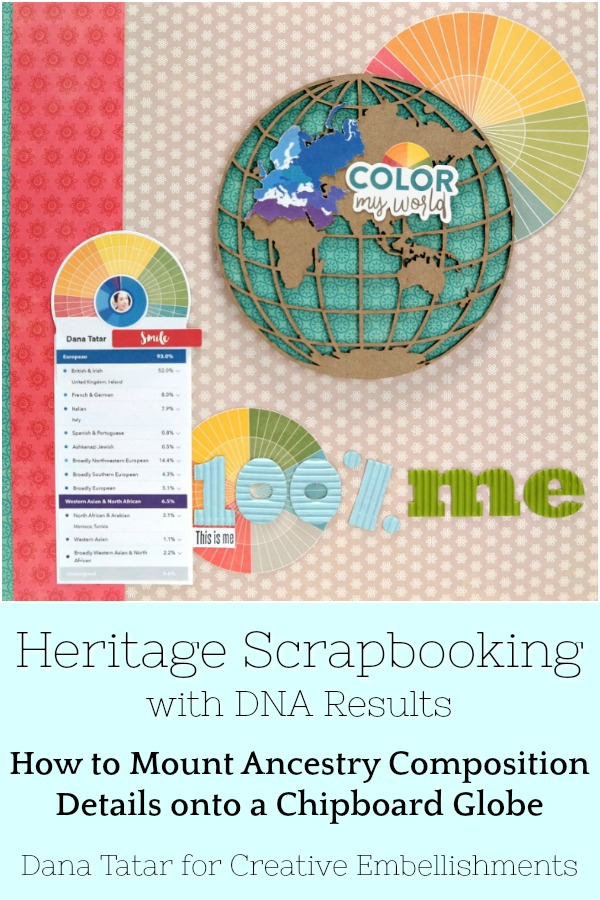 Heritage Scrapbooking with DNA Ancestry Composition Results Mapped on a Chipboard Globe