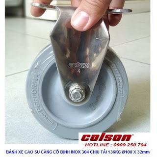 Bánh xe cao su 100x32mm càng inox 304 cố định Colson | 2-4408-444 www.banhxedayhang.net