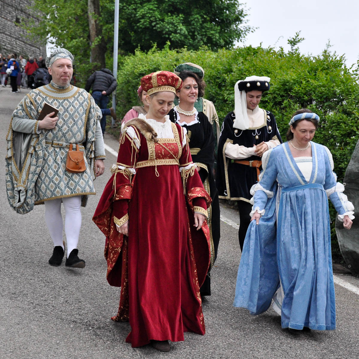 Reenactors dressed in period costumes, Romeo and Juliet Festival - Faida, Montecchio Maggiore, Veneto, Italy