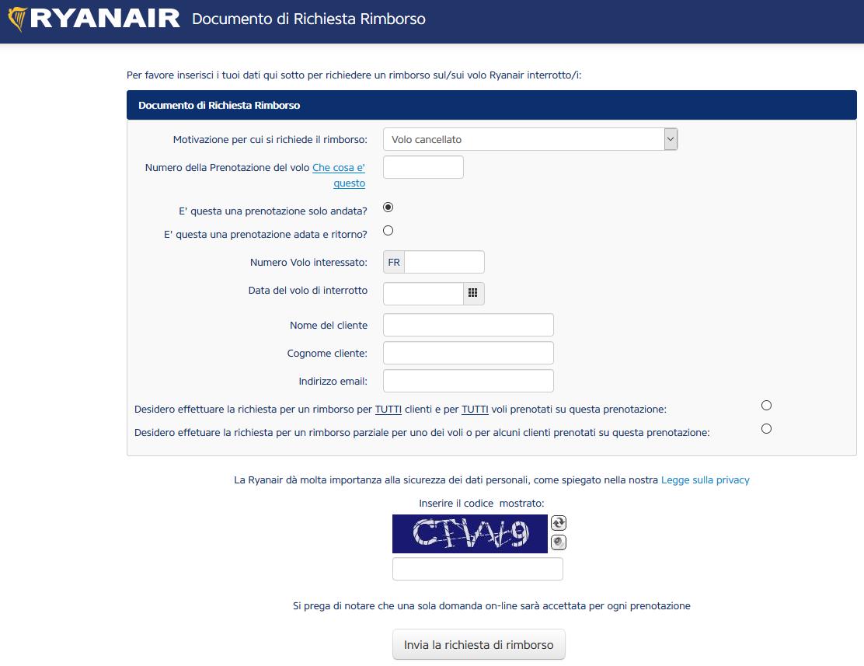 Modulo richiesta rimborso Ryanair per cancellazione volo
