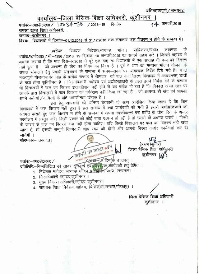 कुशीनगर : दिसम्बर माह में विद्यालयों में फल वितरण न होने के संबंध में की गई कार्यवाही व स्पष्टीकरण प्रस्तुत किये जाने हेतु सभी बीईओ को निर्देश जारी, देखें