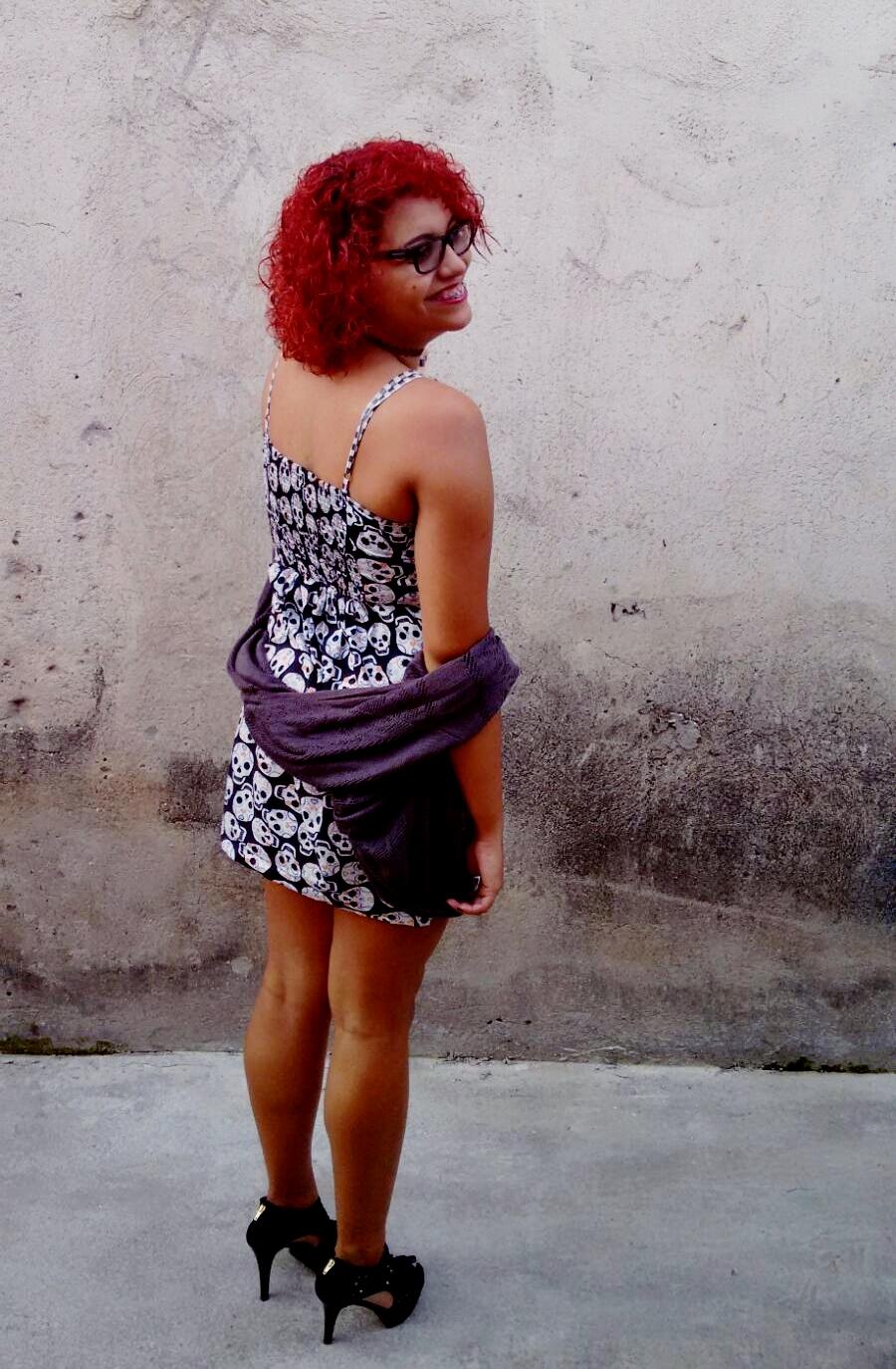 LOOK DO DIA - Vestido Caveira