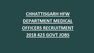 CHHATTISGARH HFW DEPARTMENT MEDICAL OFFICERS WALK IN INTERVIEW RECRUITMENT 2018 423 GOVT JOBS