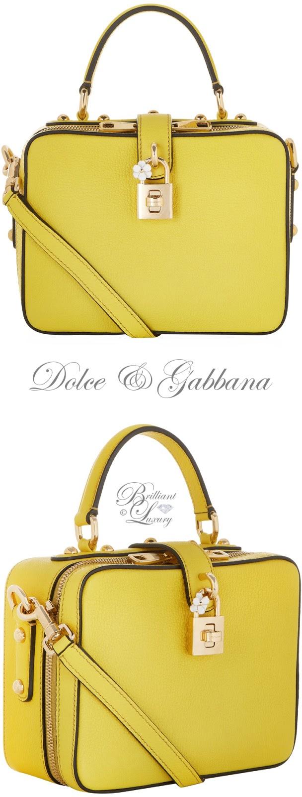 Brilliant Luxury ♦ Dolce & Gabbana yellow mini padlock top handle bag