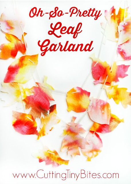 Oh-So-Pretty Leaf Garland.  Beautiful fall decoration craft for preschoolers, kindergartners, or elementary.  Uses simple and easy materials!