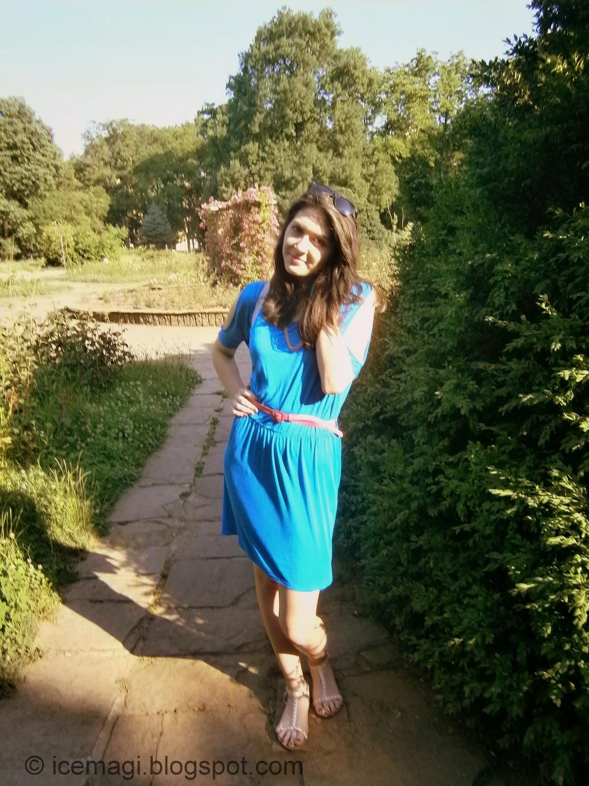 blue dress OOTD