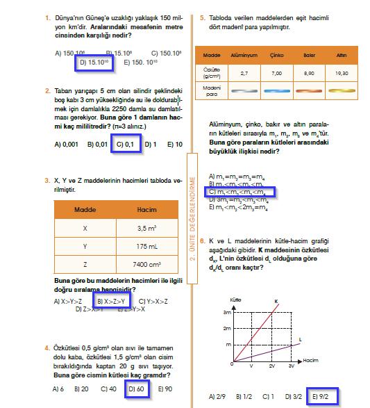 9.Sınıf Fizik MEB Yayınları Ders Kitabı 101.Sayfa Cevapları 2. Ünite Değerlendirme (Yeni Müfredat)