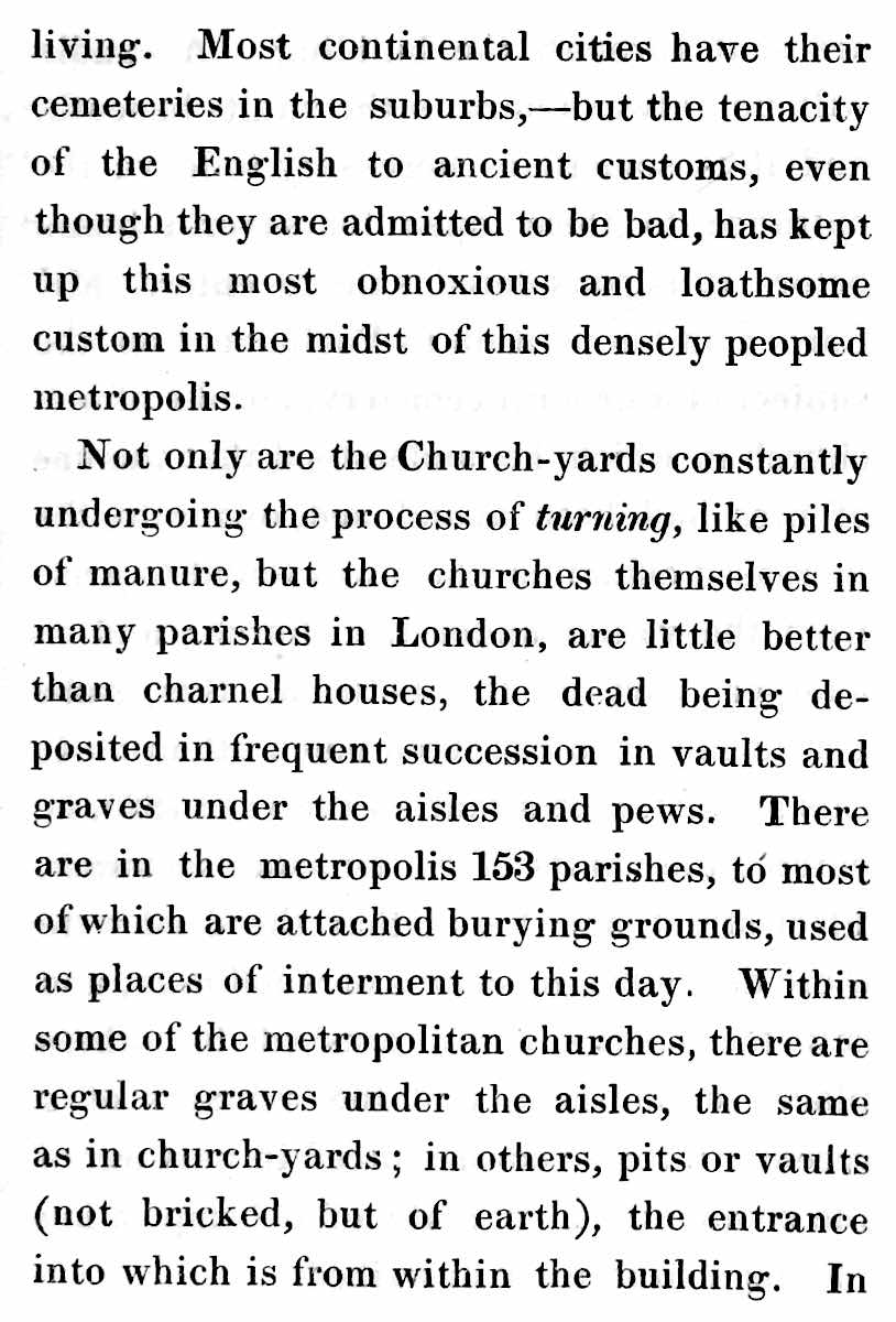 image of a paragraph about overused cemeteries in 1837 London needing turning
