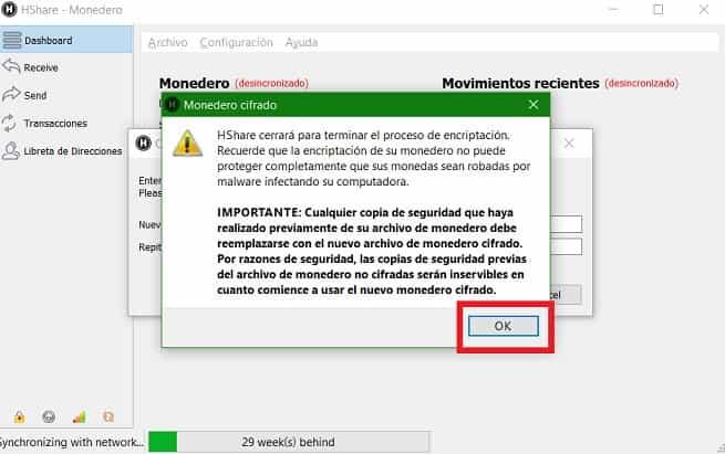 Aviso seguridad wallet HSR HCash