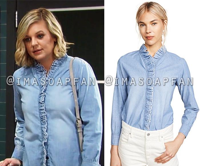 Maxie Jones, Kirsten Storms, Ruffled Blue Chambray Shirt, Isabel Marant Etoile, General Hospital, GH