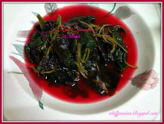 red spinach in miso