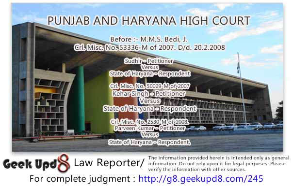 Punjab Haryana High Court - NDPS Act, 1985, Section 20 - Recovery of Ganja from accused - Only flowering and fruiting tops come within definition of Ganja as per Section 2(iii)(b) and not the seeds and leaves - Bail Allowed
